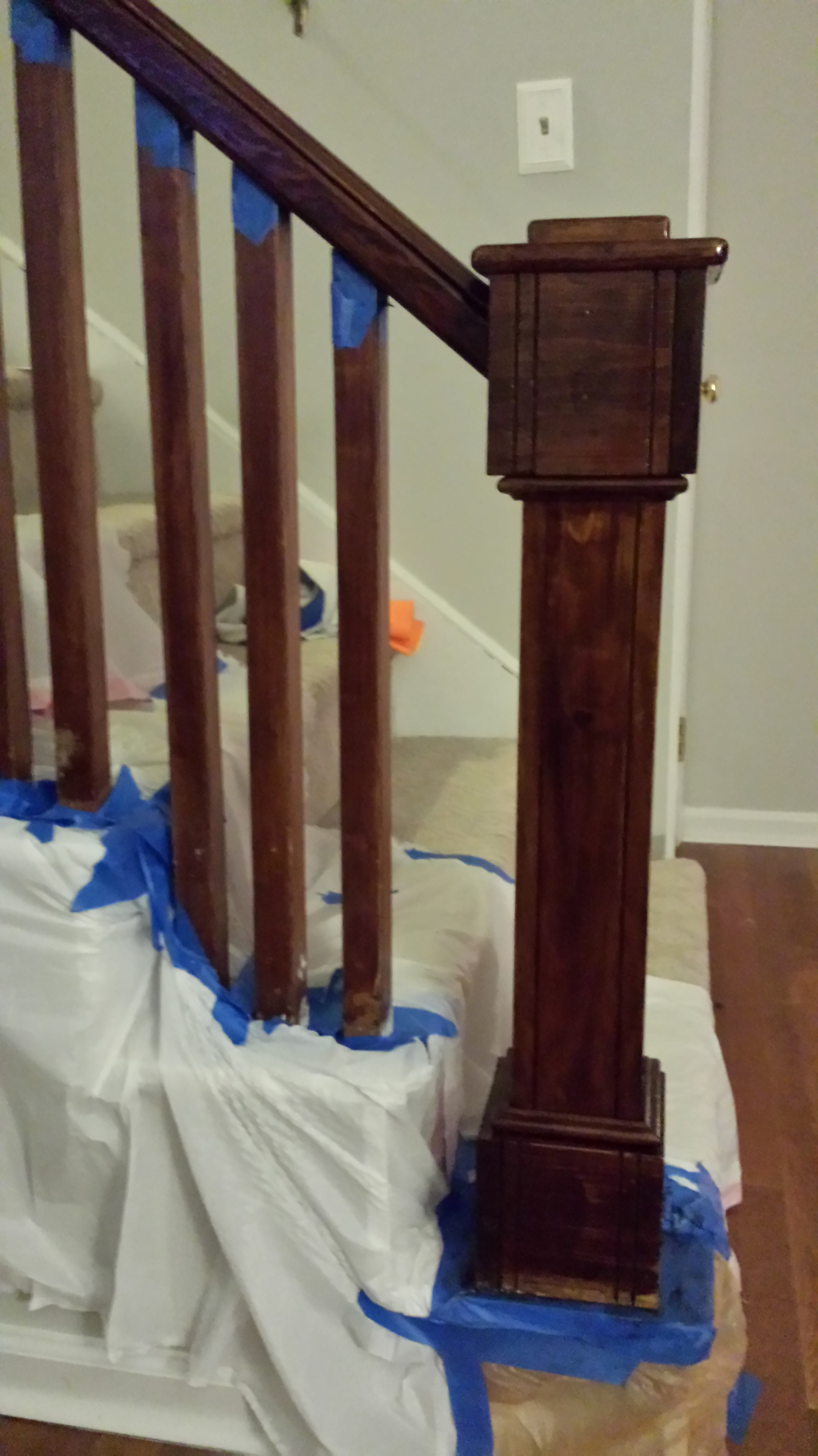 how to paint stairway railings bower power restaining banist