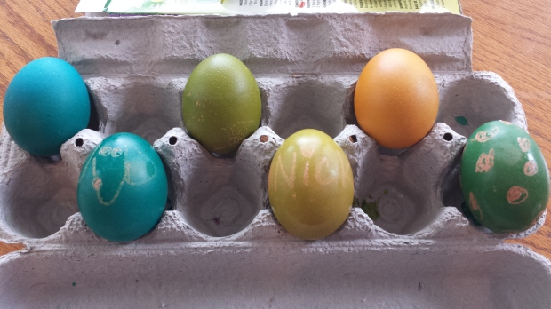 dying brown easter eggs