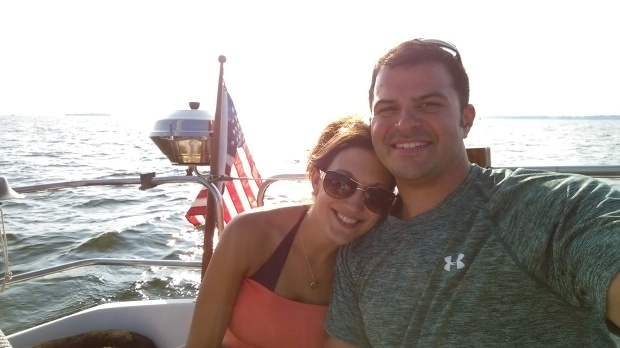 Nick and Emily on the sailboat 4th of July